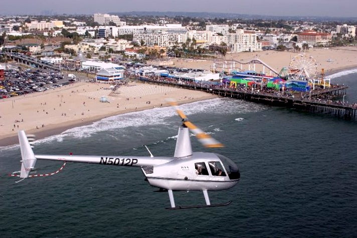 Celebrity Helicopters flying over the Santa Monica Pier
