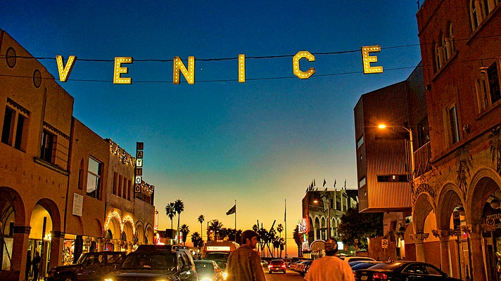 Venice Beach sign at sunset